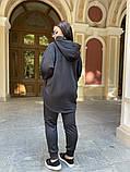 Батник теплая кофта женская оверсайз ткань трехнить с начесом размер: 50-52,54-56, фото 9