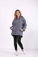 / Размеры 42-74 / Женская осенне-весенняя куртка t01308 / цвет серый