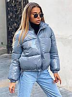 Женская короткая зимняя куртка на молнии без капюшона с резинкой по низу 22KU459, фото 1