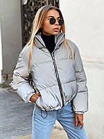 Женская светоотражающая зимняя куртка короткая, на молнии и без капюшона 22KU461, фото 1