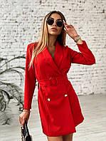 Красное платье пиджак, двубортное с поясом и длинным рукавом (р. 42-44) 22PL1618, фото 1