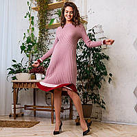 Вязаное расклешенное платье миди с плиссированной юбкой и длинным рукавом 61PL1619, фото 1