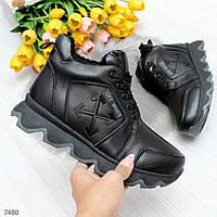 Женские зимние кожаные полуботинки на меху OB7480, фото 1