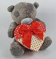 Мишка Тедди с коробкой для подарка 35 см подарок на День Святого Валентина