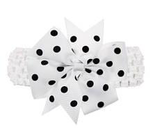 Детская белая повязка с бантом в горох для детей - размер универсальный (на резинке), бант 11см