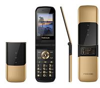 Телефон кнопочный золотистый с большим дисплеем, камерой и большими кнопками на 2 sim Tkexun 2720 gold