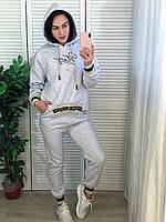Женский утепленный спортивный костюм с капюшоном,серый.Турция, фото 1