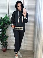 Жіночий утеплений спортивний костюм з капюшоном,т. сірий.Туреччина, фото 1