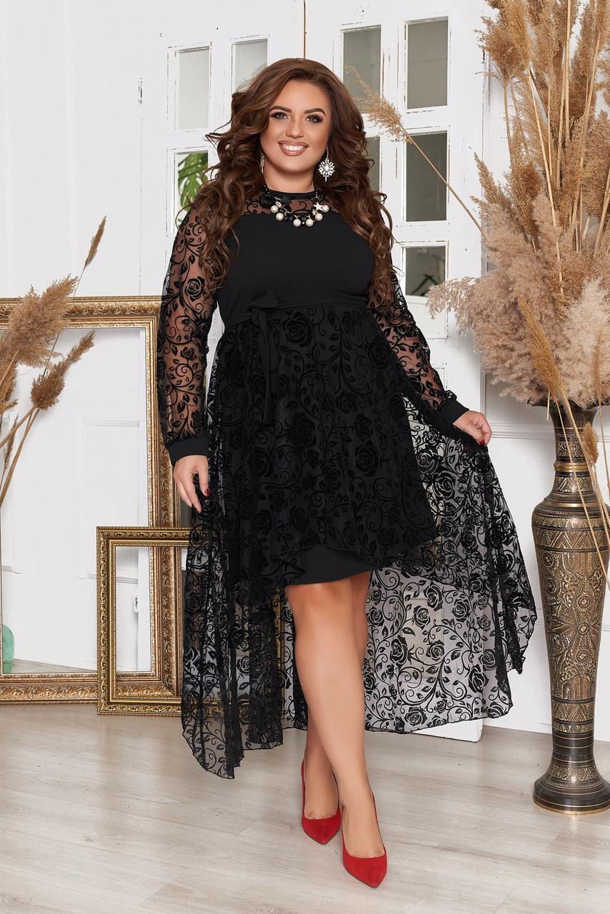 Платье  БАТАЛ сетка 983066