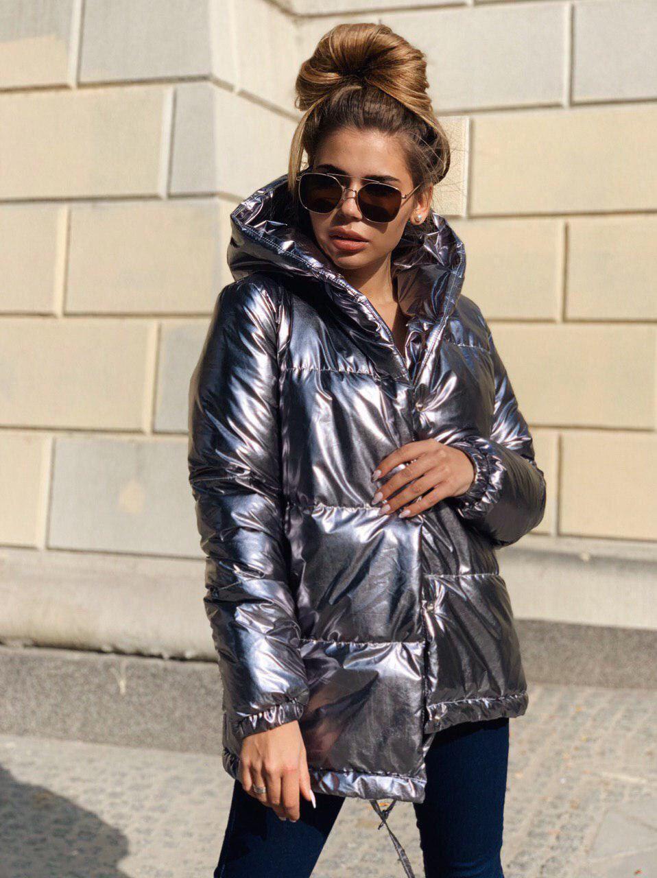 Женская зимняя куртка зефирка на кнопках с объемным капюшоном (р. 42-46) 22KU458