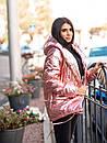 Женская зимняя куртка зефирка на кнопках с объемным капюшоном (р. 42-46) 22KU458, фото 7