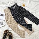 Женские широкие штаны в клетку со шнуровкой на поясе (р. 42-44) 83SH535, фото 3