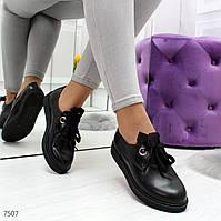 Повседневные черные кожаные женские туфли ботинки низкий ход, фото 1
