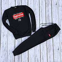 """Мужской спортивный костюм чёрный свитшот """"Supreme"""" и чёрные штаны """"Supreme"""" Размеры: S, M, L, XL"""
