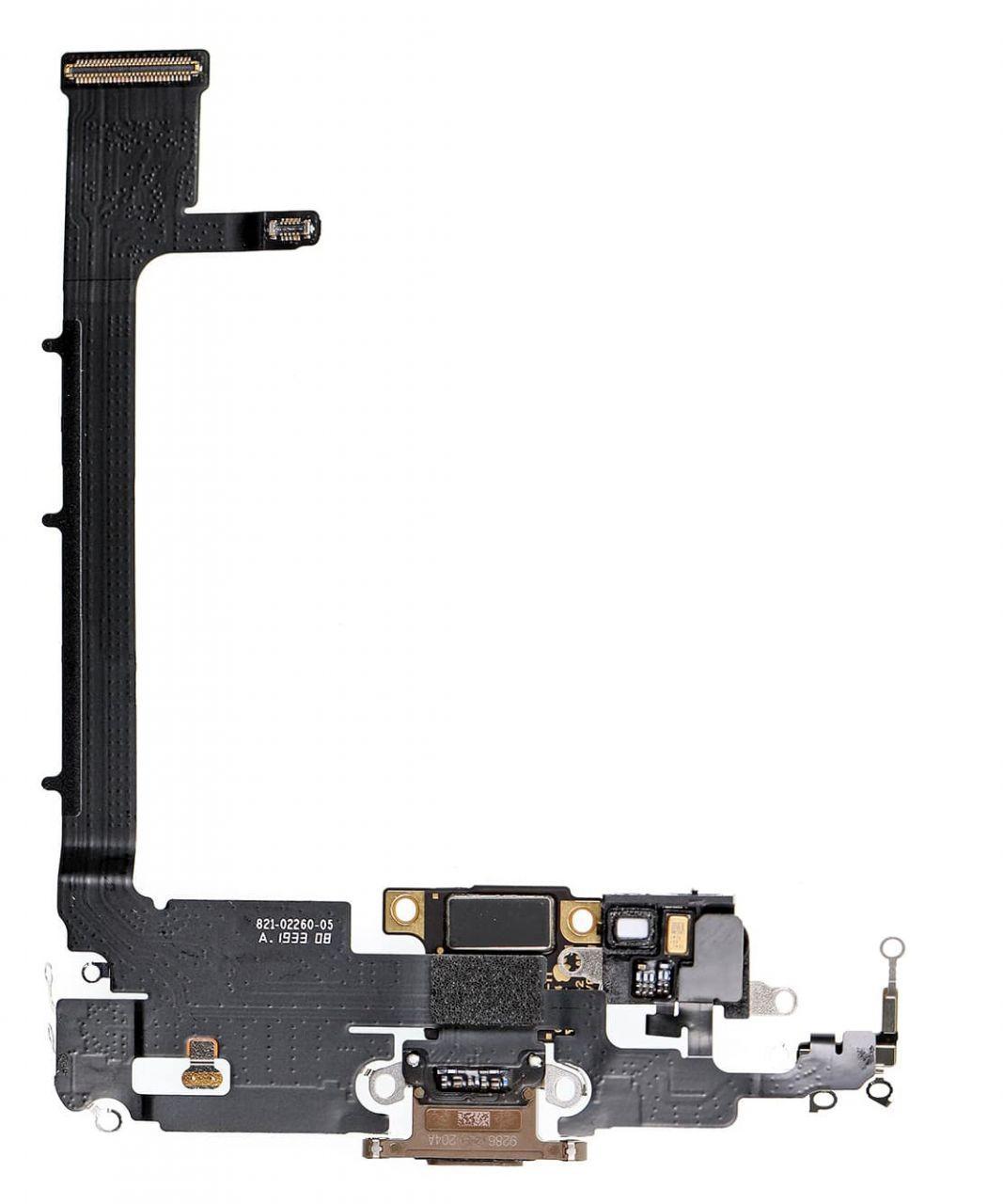Нижній шлейф iPhone 11 Pro Max з роз'ємом зарядки і мікрофоном Gold