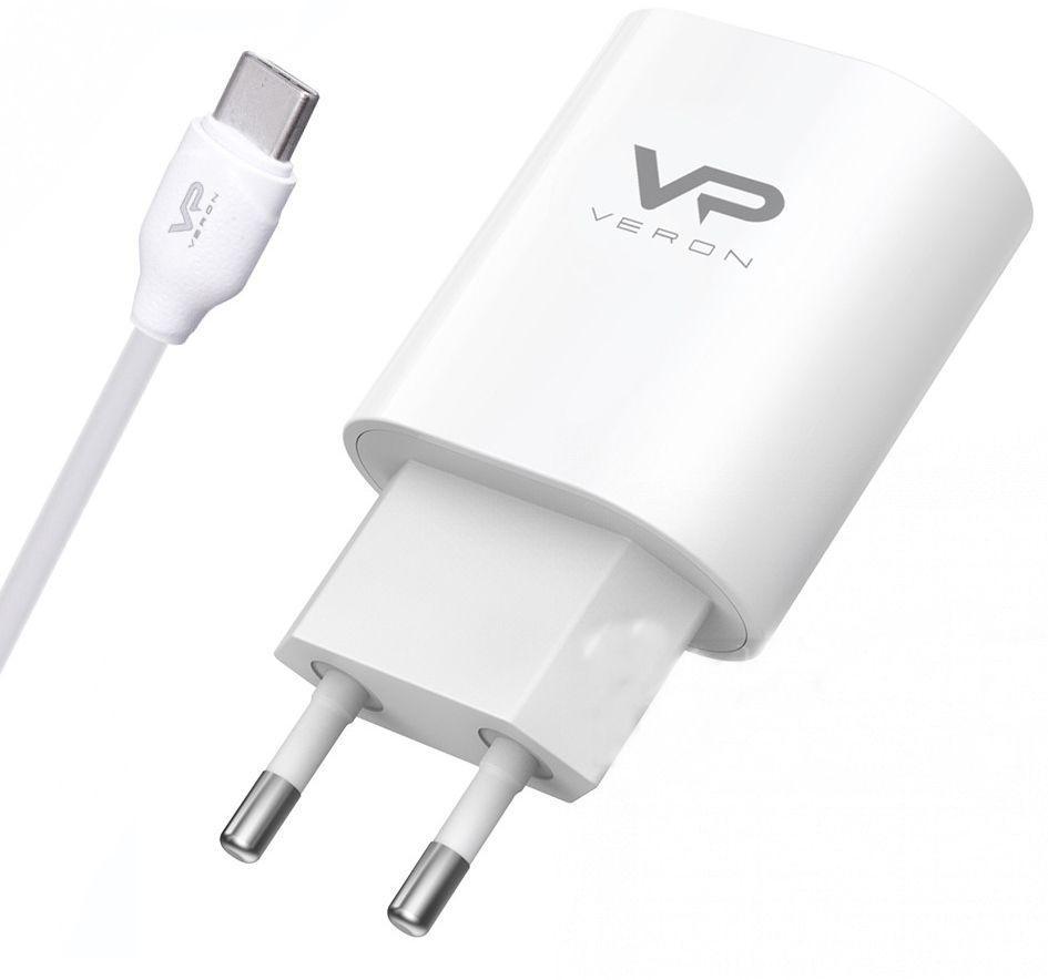 Мережевий зарядний пристрій Veron AD17C Home Charger 3A + USB Type C Cable White