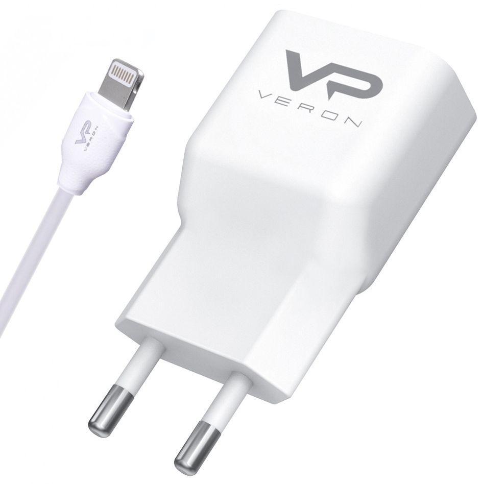 Мережевий зарядний пристрій Veron AD19L Home Charger QC2.0 2A + Lightning Cable White