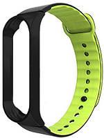 Сменный ремешок для фитнес трекера Xiaomi Mi Sport Silicone Band 3 Black/Green