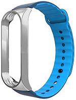 Сменный ремешок для фитнес трекера Xiaomi Mi Sport Silicone Band 3 Blue/Silver