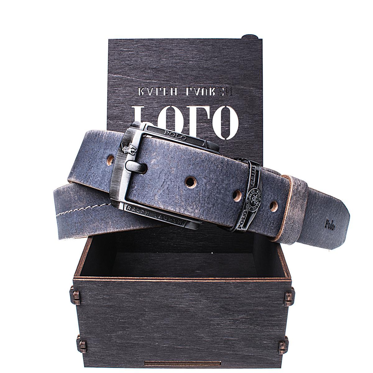 Мужской кожаный ремень Wiseo POLO синий Реплика (UF55604)