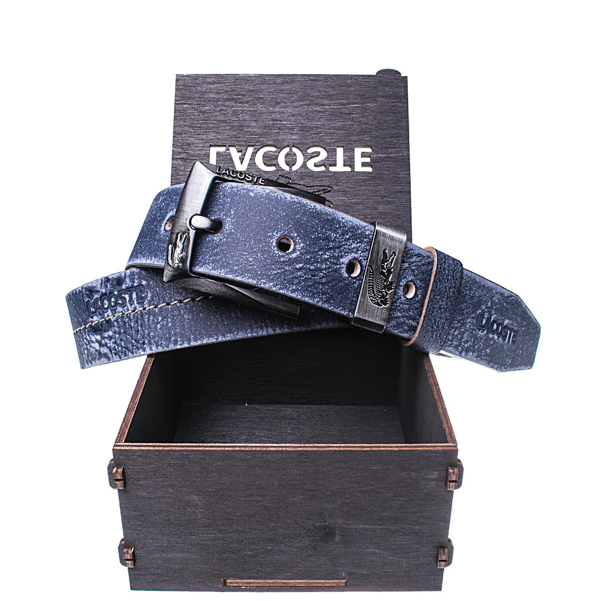 Мужской кожаный ремень Wiseo Lacoste синий Реплика (UF55617)