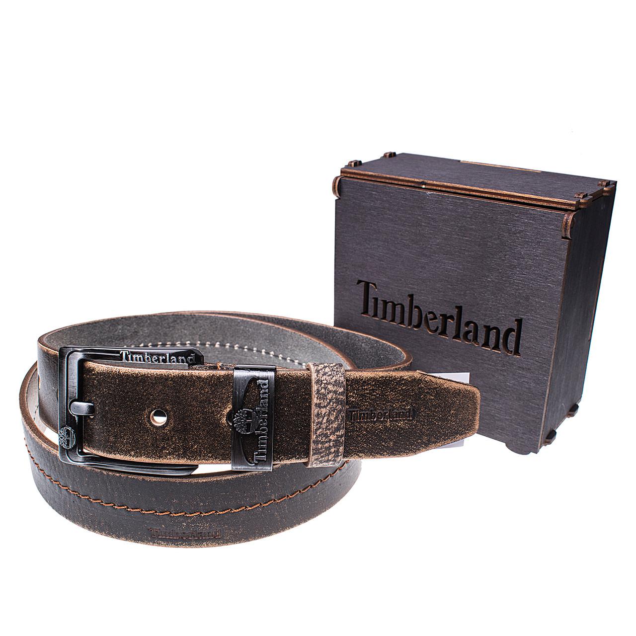 Мужской кожаный ремень Wiseo Timberland Коричневый Реплика (UF55625)