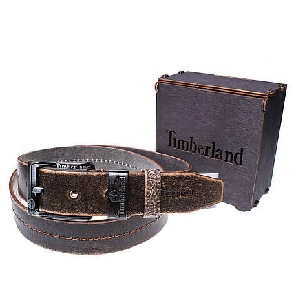 Мужской кожаный ремень Wiseo Timberland Коричневый Реплика (UF55625), фото 2