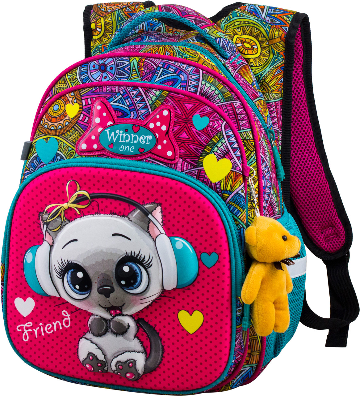 Рюкзак шкільний ортопедичний для дівчинки 1-4 клас з Котиком в орнаменті Winner One R3-220