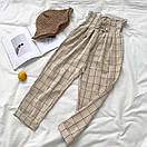 Женские широкие штаны в клетку со шнуровкой на поясе (р. 42-44) 83bil535, фото 2