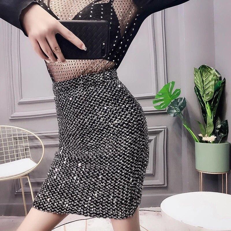 Женская юбка - карандаш с пайетками выше колена (р. 42-46) 83jus438