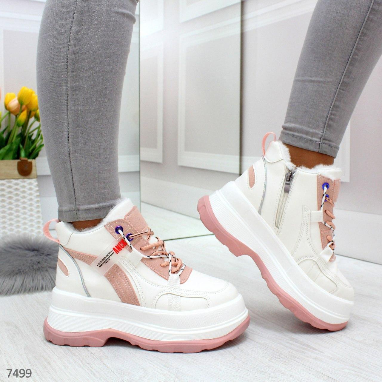 Женские зимние кроссовки на платформе на меху kap7499