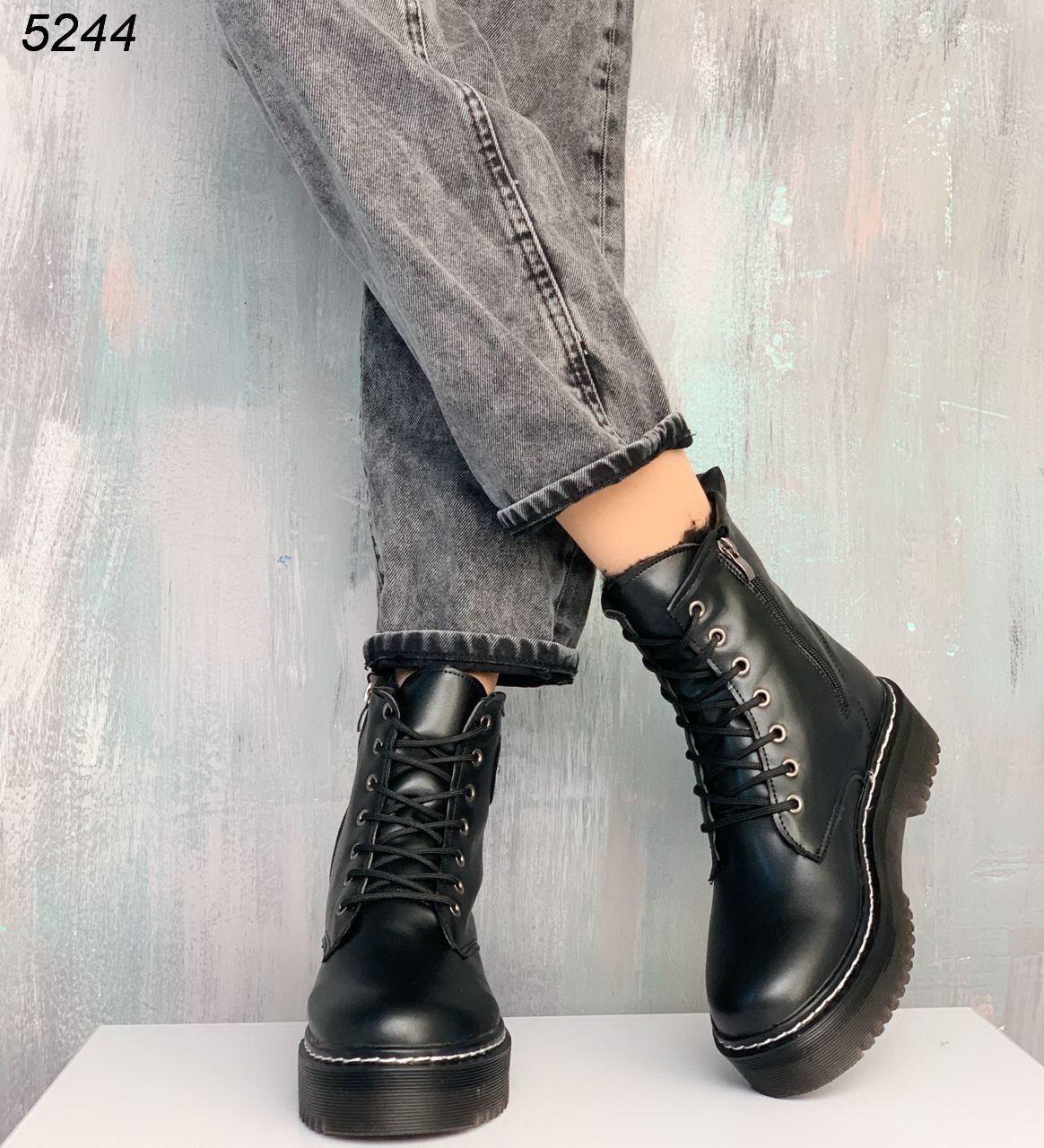 Женские зимние ботинки на шунровке из экокожи на меху kap5244