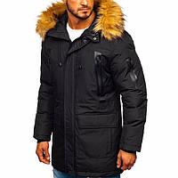 Мужская Зимняя куртка чёрная мужская парка с капюшоном Размеры: L, XL