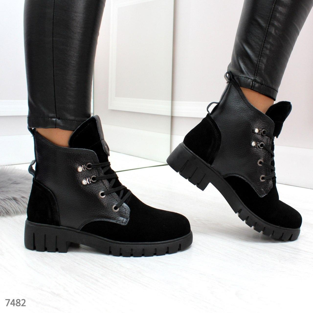 Женские черные ботинки зима из натуральной кожи и замши kap7482