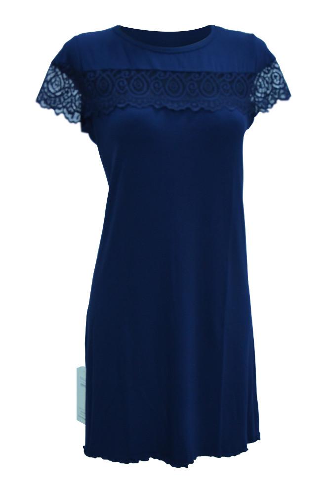 Сорочка - рубашка ночная женская вискоза, синяя D&C fashion