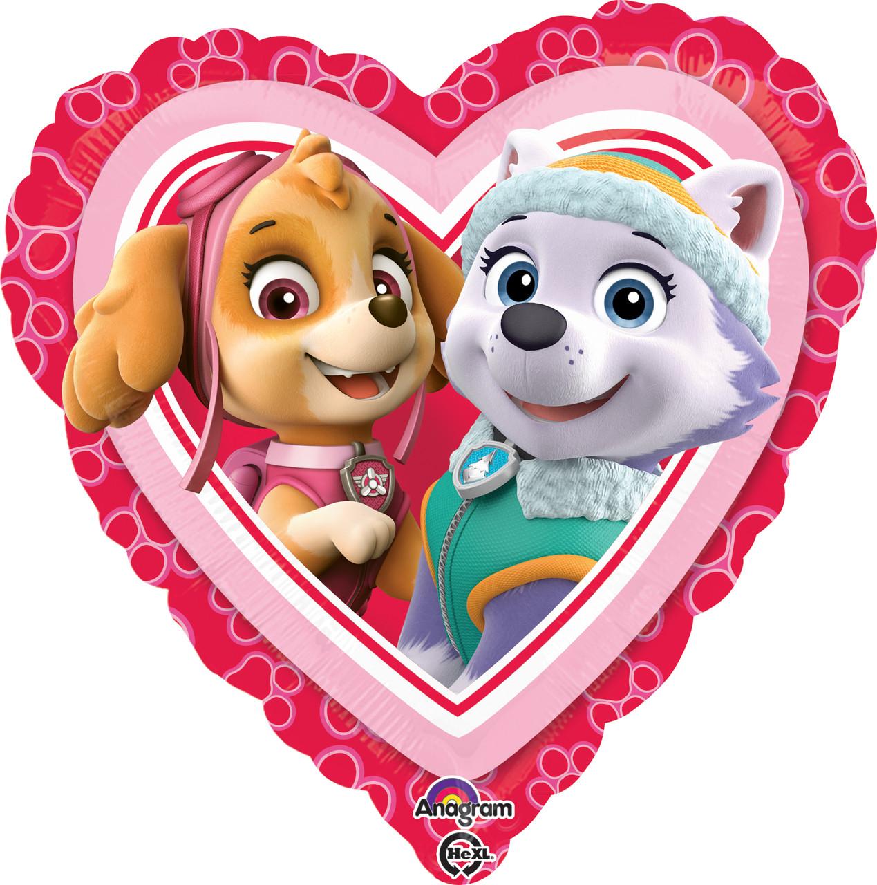 """A 18"""" Paw Patrol Love - Girl Balloon. Фольгированный шар гелиевый сердце Щенячий патруль. Скай и Эверест"""
