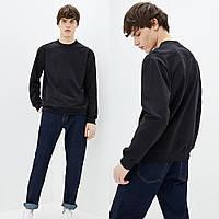 Мужской черный однотонный Свитшот без начеса, легкий свитер, кофта весна-осень