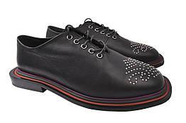Туфли женские на низком ходу из натуральной кожи, черные на шнуровку Sattini Турция