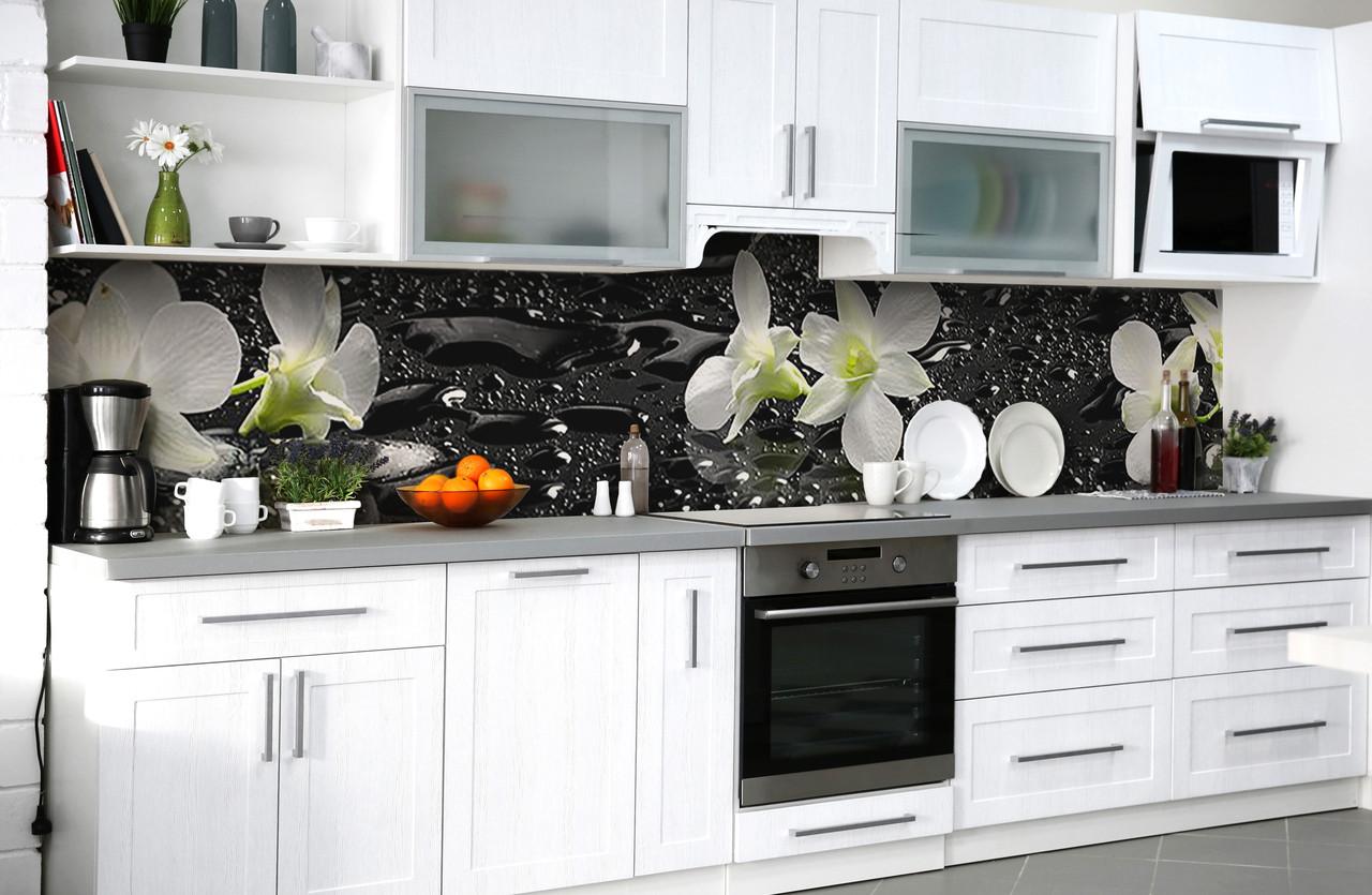 """Скинали на кухню Zatarga """"Мокрые орхидеи"""" 600х3000 мм виниловая 3Д наклейка кухонный фартук самоклеящаяся"""