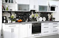 """Скинали на кухню Zatarga """"Мокрые орхидеи"""" 600х3000 мм виниловая 3Д наклейка кухонный фартук самоклеящаяся, фото 1"""
