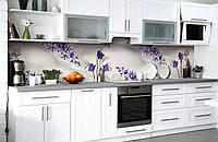 """Скинали на кухню Zatarga """"Шелк и Цветы"""" 600х2500 мм виниловая 3Д наклейка кухонный фартук самоклеящаяся"""
