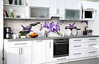 """Скинали на кухню Zatarga """"Неоновые Орхидеи"""" 600х2500 мм виниловая 3Д наклейка кухонный фартук самоклеящаяся"""