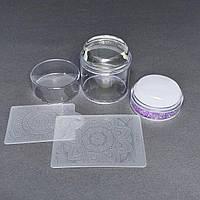 Штамп подвійний силіконовий бузковий для стемпинга і 2 скрапер-пластини з візерунками