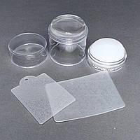 Штамп подвійний силіконовий білий для стемпинга + 2 скрапер-пластини з візерунками