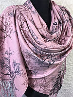 Розовый кашемировый палантин двухсторонний (цв.3), фото 1