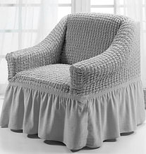 Чехол на кресло универсальный натяжной на резинке с юбкой Серый Жатка