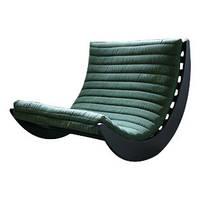 """Кресло качалка """"Elit Double"""" черный, замша зеленый"""