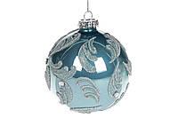 Елочный шар с рисунком, 8см, цвет - голубой, 6шт