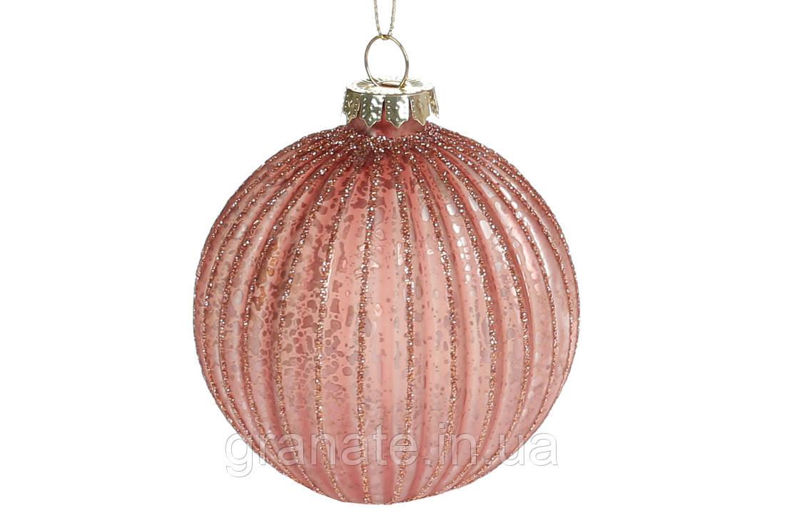 Елочный шар рельефной формы с глиттером 8см, 6шт