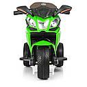 Дитячий електромобіль Мотоцикл M 3912 EL-5, 3-х колісний, Шкіряне сидіння, EVA-гума, зелений, фото 4